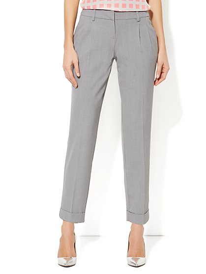 City Double Stretch Pleated Ankle Pant - Grey