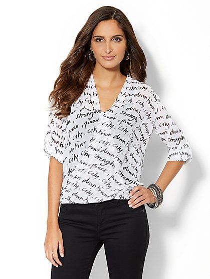 City Power Faux-Wrap Chiffon Blouse - New York & Company