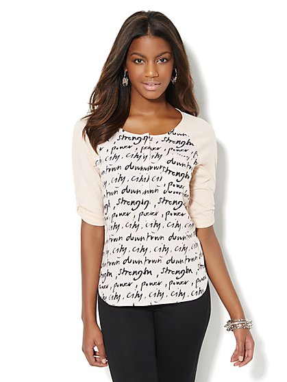 City Power Mixed-Fabric Top  - New York & Company