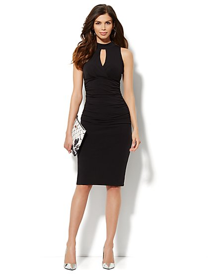 City Slim Shirred Halter Dress  - New York & Company