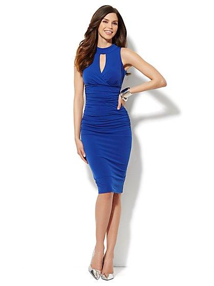 City Slim Shirred Halter Dress  - New York & Company