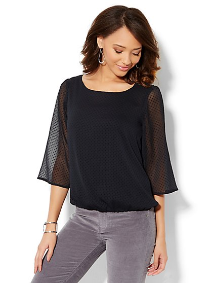 Clip-Dot Popover Blouse - New York & Company