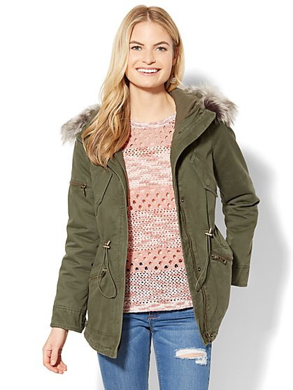 Coated Long Fur-Trim Anorak - New York & Company
