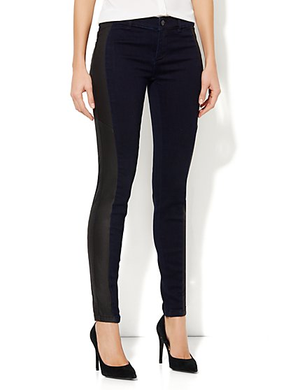 Coated Side-Panel Jean Legging