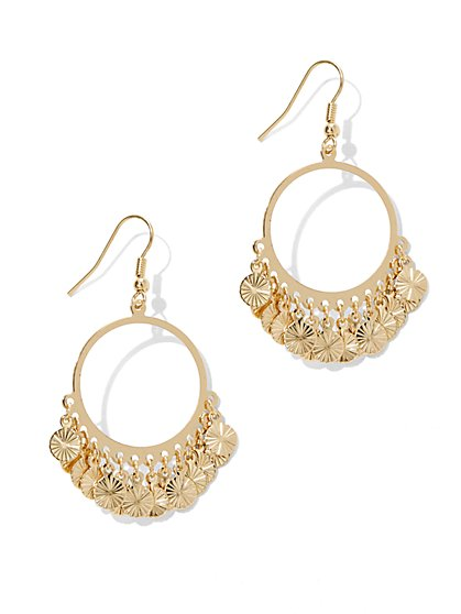 Coin Dangle Hoop Drop Earrings  - New York & Company