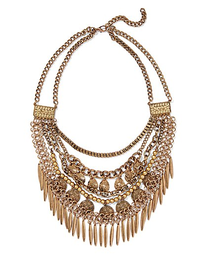 Coin & Fringe Necklace  - New York & Company