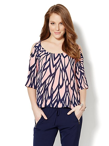 Cold-Shoulder Bell-Sleeve Blouse - Abstract Print  - New York & Company