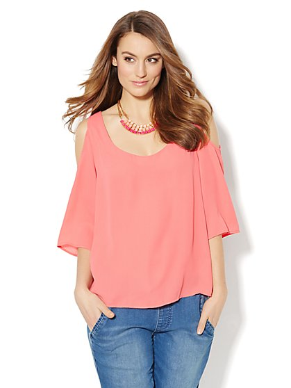 Cold-Shoulder Bell-Sleeve Blouse - Solid - New York & Company