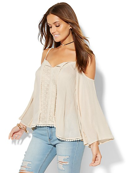 Cold-Shoulder Bell-Sleeve Blouse  - New York & Company