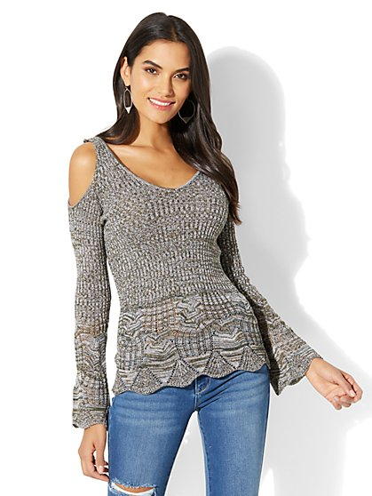 Cold-Shoulder Bell-Sleeve Sweater - New York & Company