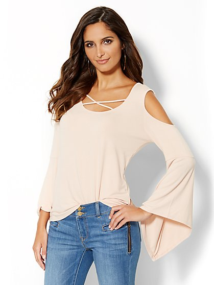 Cold-Shoulder Bell-Sleeve Top - New York & Company