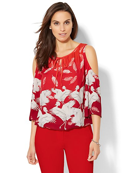 Cold-Shoulder Blouse - Feather & Bird Print - New York & Company