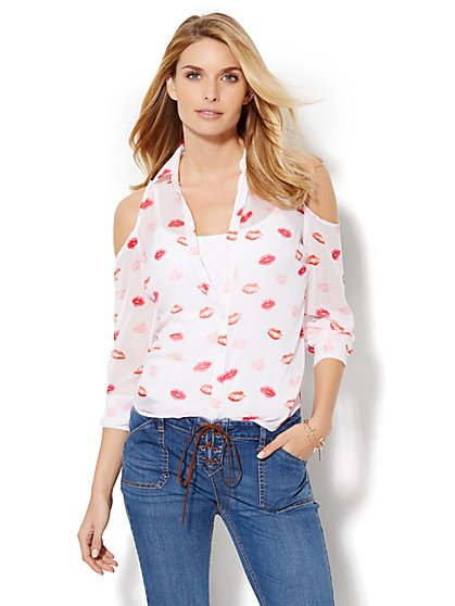 Cold-Shoulder Blouse - Kiss Print  - New York & Company