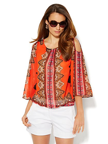 Cold-Shoulder Blouse - Medallion-Aztec Print - New York & Company