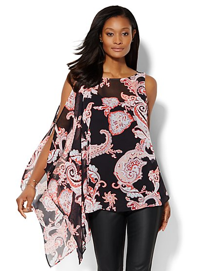 Cold-Shoulder Blouse - Paisley  - New York & Company