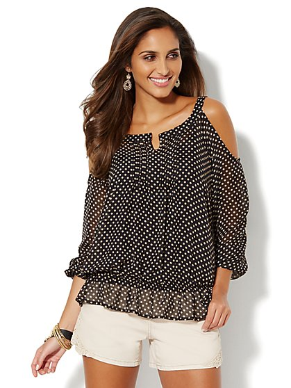 Cold-Shoulder Blouse - Polka Dot - New York & Company