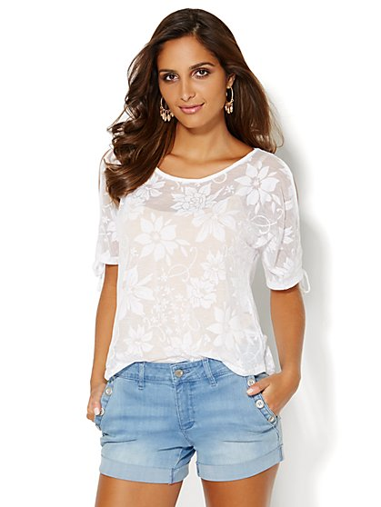 Cold-Shoulder Burnout Tee - New York & Company