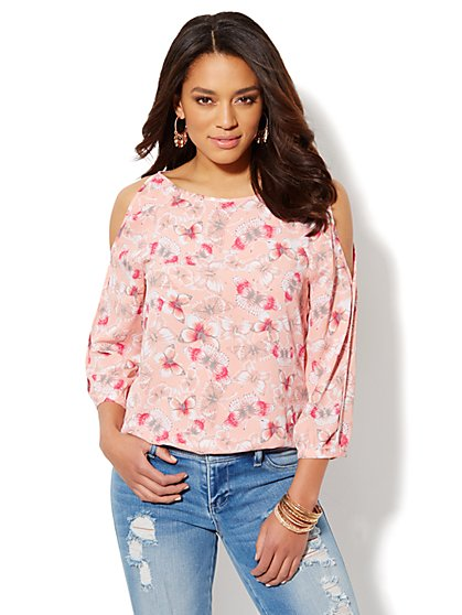 Cold-Shoulder Butterfly-Print Blouse  - New York & Company