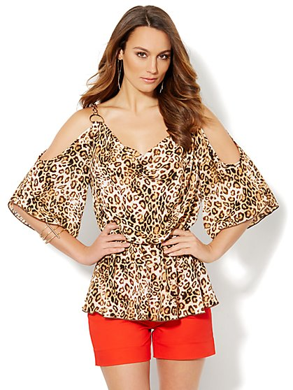 Cold-Shoulder Chain-Link Blouse - Animal Print  - New York & Company