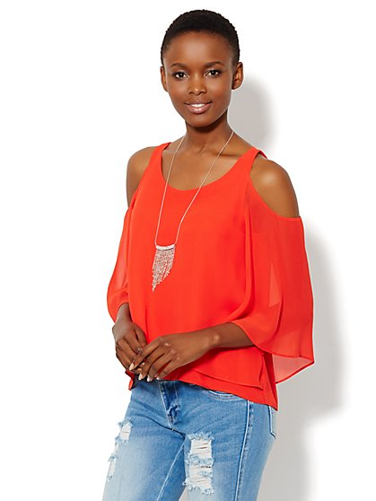 Cold-Shoulder Chiffon Blouse - New York & Company