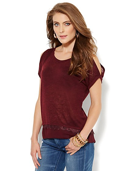 Cold-Shoulder Chiffon-Trim Top - New York & Company