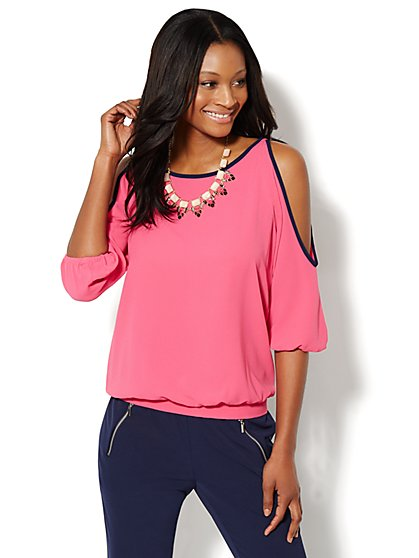 Cold-Shoulder Contrast Trim Blouse  - New York & Company