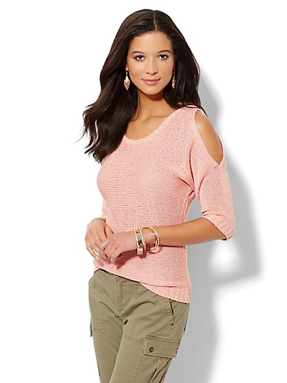 Cold-Shoulder Dolman Sweater - New York & Company