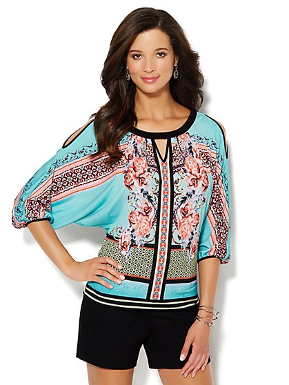 Cold-Shoulder Dolman Top - Floral Print  - New York & Company