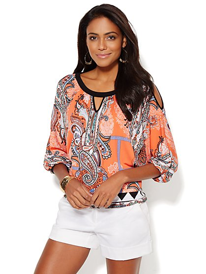 Cold-Shoulder Dolman Top - Paisley Print  - New York & Company