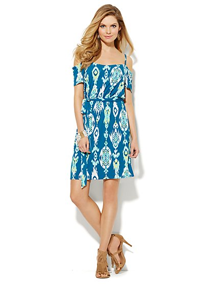 Cold-Shoulder Dress - Ikat  - New York & Company