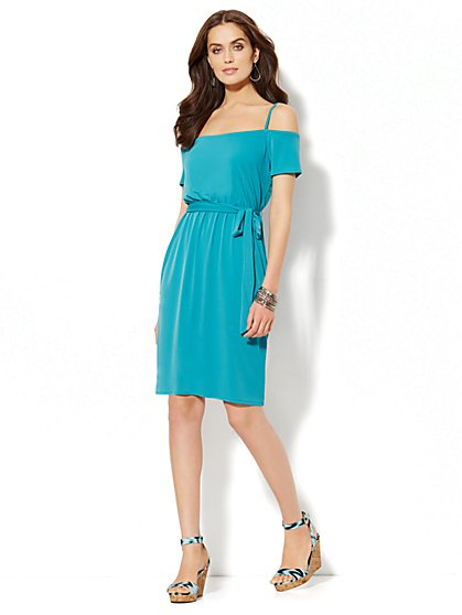 Cold-Shoulder Dress - Solid  - New York & Company