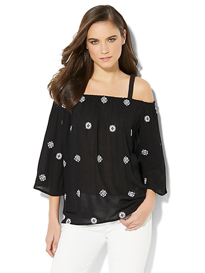 Cold-Shoulder Embroidered Blouse - New York & Company