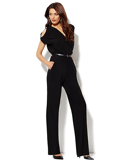 Cold-Shoulder Faux-Wrap Jumpsuit - New York & Company