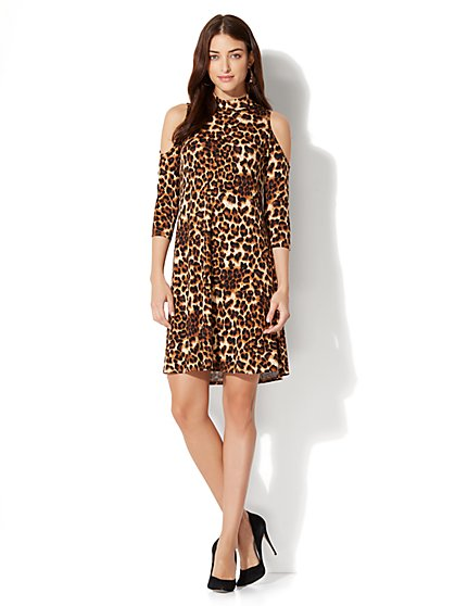 Cold-Shoulder Flare Dress - Leopard Print - New York & Company