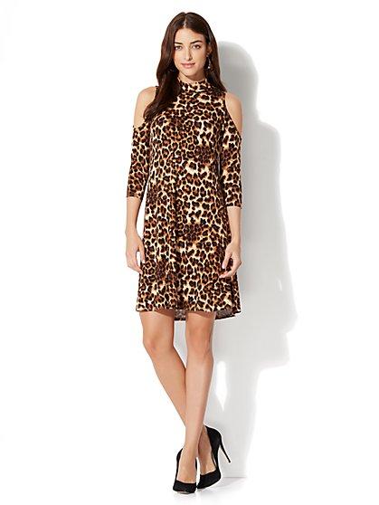 Cold-Shoulder Flare Dress - Leopard Print - New York & Company