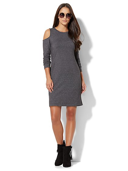 Cold-Shoulder Flare Dress - New York & Company