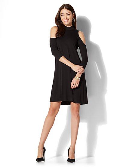 Cold-Shoulder Flare Dress - New York & Company