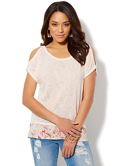 Cold-Shoulder Floral-Trim Top  - New York & Company