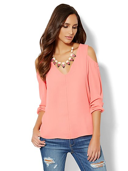 Cold-Shoulder Front-Seam Blouse  - New York & Company