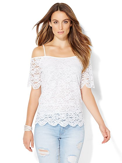 Cold-Shoulder Lace Blouse  - New York & Company