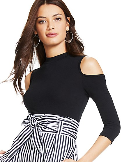 Cold-Shoulder Mock-Neck Bodysuit - New York & Company