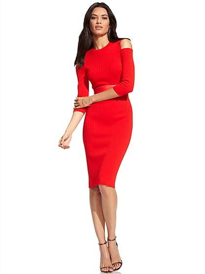 Cold-Shoulder Ribbed-Sweater Dress  - New York & Company