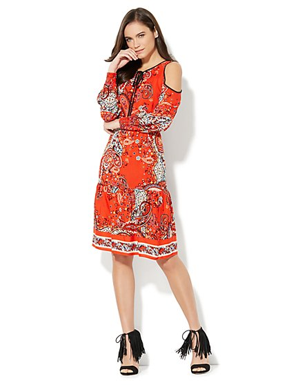 Cold-Shoulder Ruffle-Hem Dress - Paisley - New York & Company