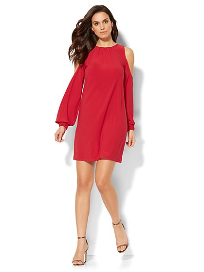 Cold-Shoulder Shift Dress - New York & Company