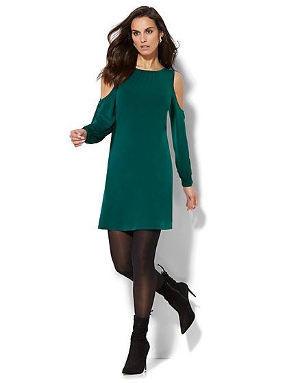 Cold-Shoulder Shift Dress - New York & Company