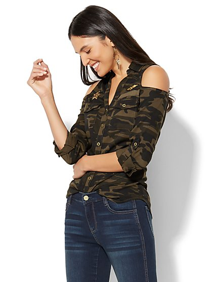 Cold-Shoulder Shirt - Camouflage Print - New York & Company