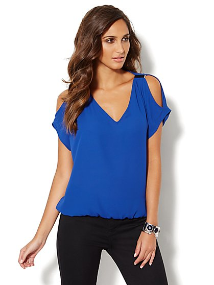 Cold-Shoulder Short-Sleeve Blouse   - New York & Company