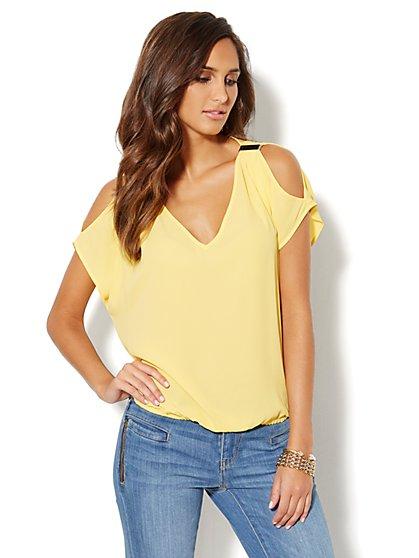 Cold-Shoulder Short-Sleeve Blouse   - New York & Company