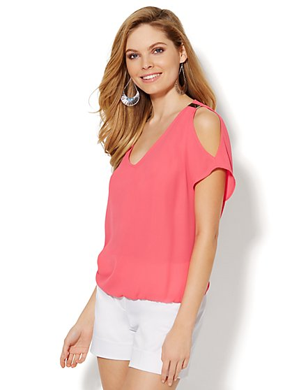 Cold-Shoulder Silver-Accent Blouse  - New York & Company