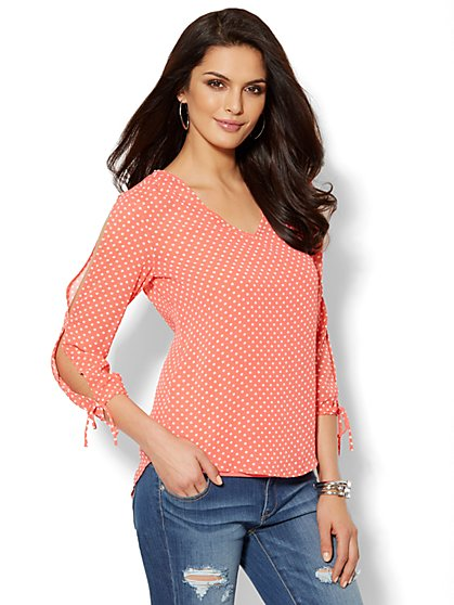 Cold Shoulder Split-Sleeve Blouse - Dot Print  - New York & Company